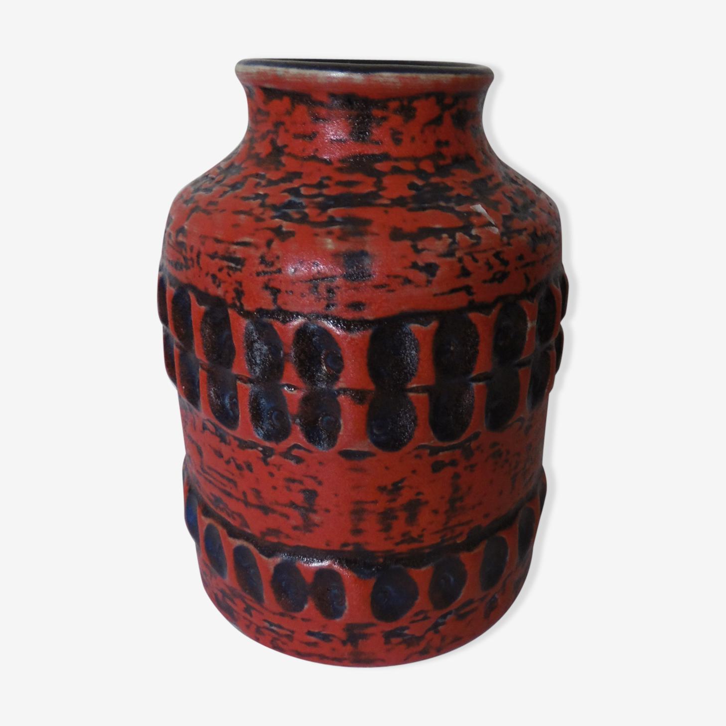 Vase West Germany rouge nuances de noire et bleu cobalt