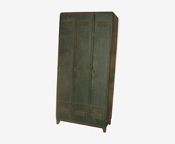 Old metal wardrobe 3 doors rounded edges year 1950