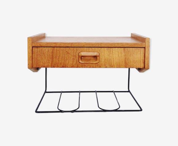 Table De Chevet Suspendue En Teck 1960 Teck Bois