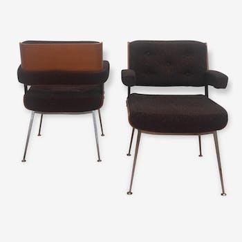 Paires de chaises et fauteuils Alain Richard - Années 60