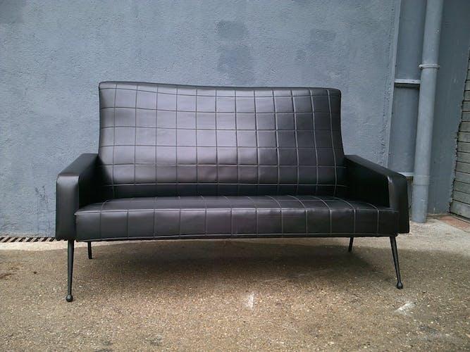 Vintage black skai sofa