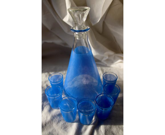 Service à liqueur décor nid d'abeille bleu BVB France vintage