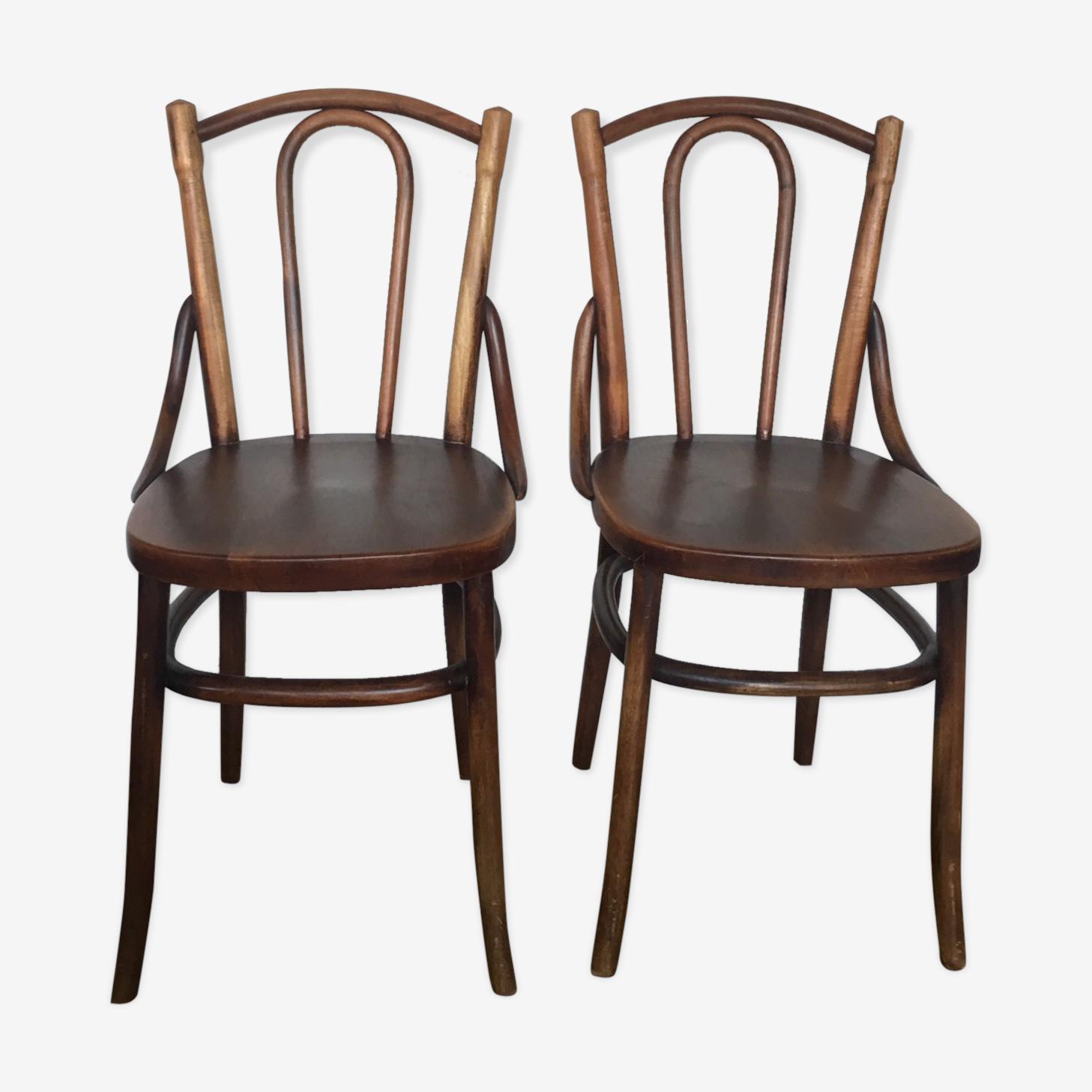 Paire de chaise bois plein