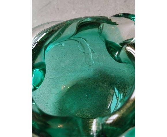 Cendrier en verre de Murano, avec incrustations couleur or