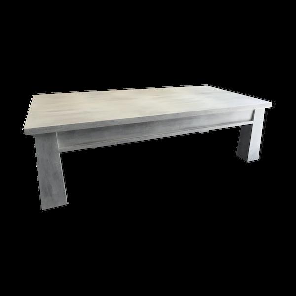Table basse en bois de teck massif Indonésien patinée blanc