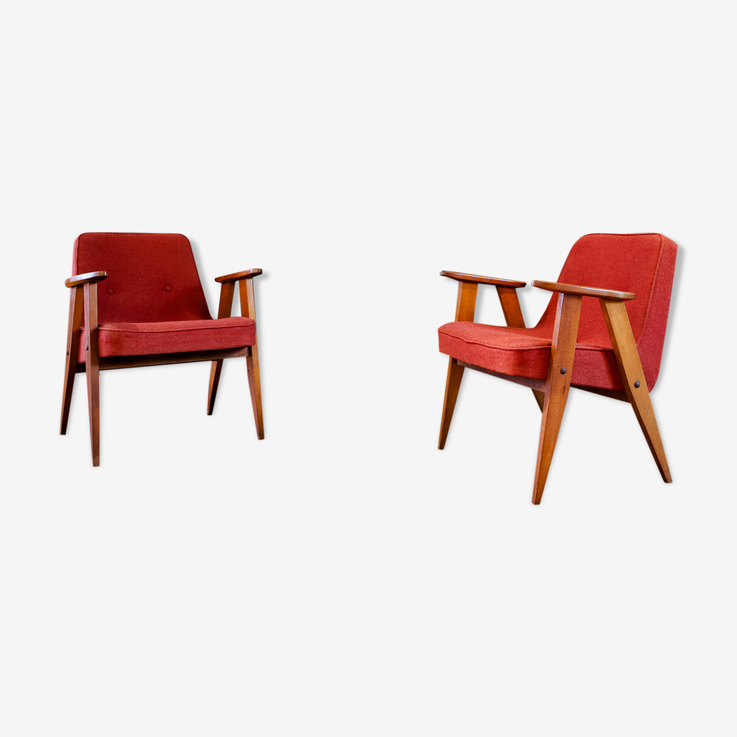 Authentic pair of 366 armchairs by Józef Chierowski, 1960