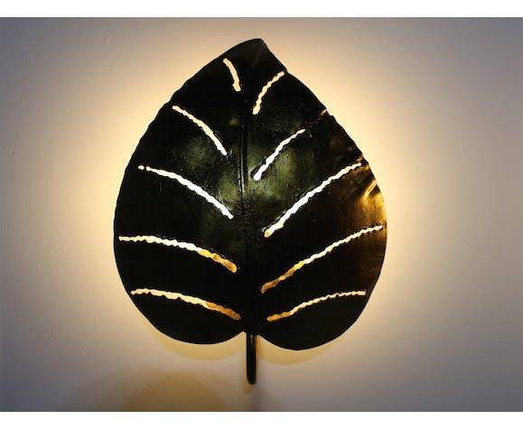 Paire d'appliques en métal doré feuilles de Monstera