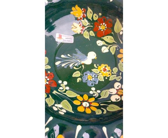 Saladier alsacien vintage aux fleurs et oiseau
