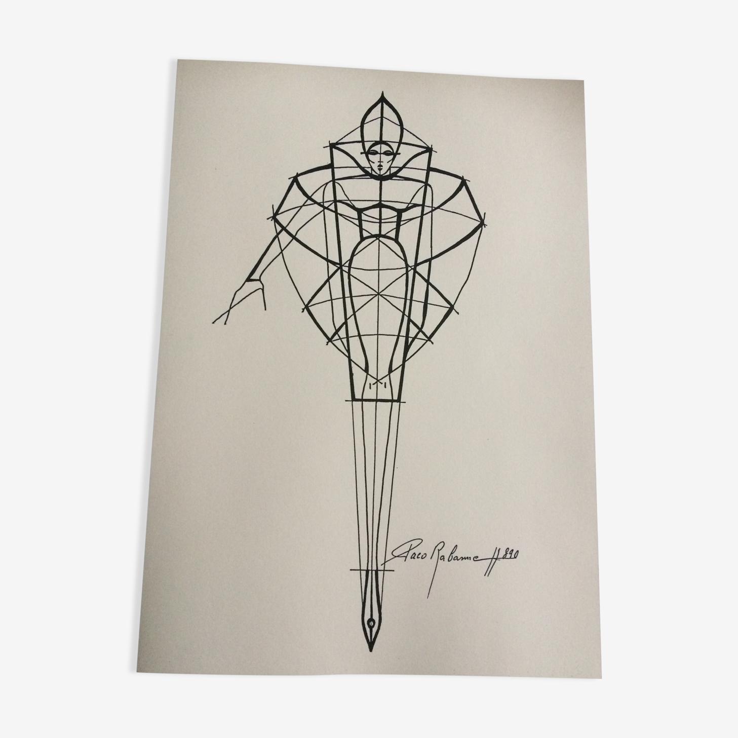 Illustration de mode de presse par Paco Rabanne années 90