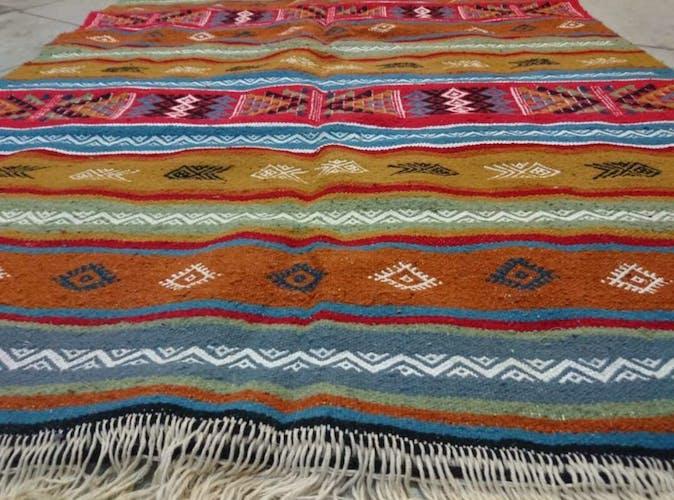 Tapis kilim berbère multicolores en pure laine