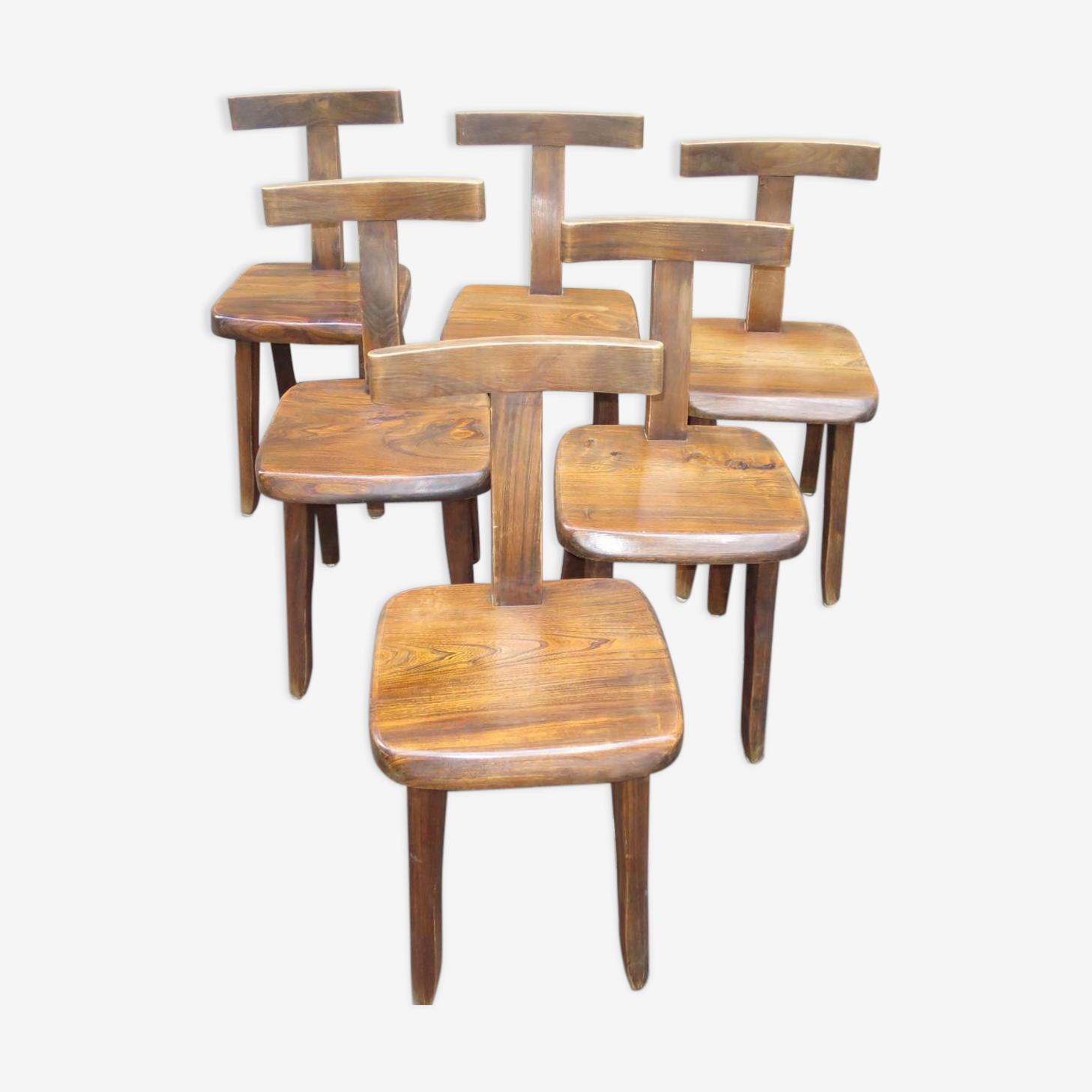 """Suite de 6 chaises """"T"""" par Olavi Hanninen design scandinave brutaliste Ed. Mikko Nupponen"""