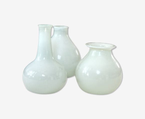 Set Of Vases In The 1930s Glass And Crystal White Vintage