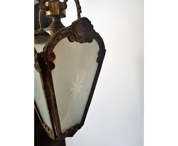 Smoked glass and brass lantern