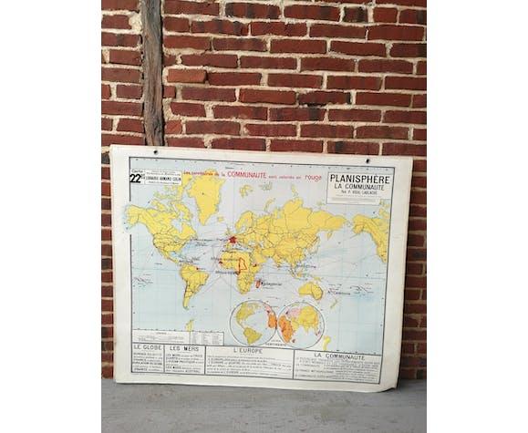 carte vidal lablache le bon coin Ancienne carte vidal lablache la planisphère | Selency