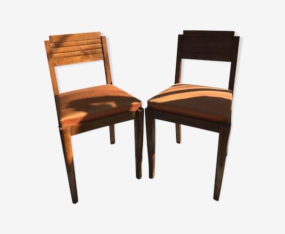 Paire de chaise ancienne art deco stucture bois + assise tissu orange vintage