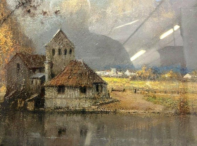 Pastel sur toile le clocher, école française XXème