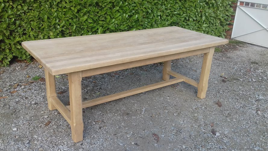 Table de ferme en chêne massif 2 rallonges bois brut