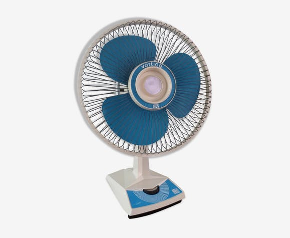 Oscillating fan vortice vintage  blue and white 1970s