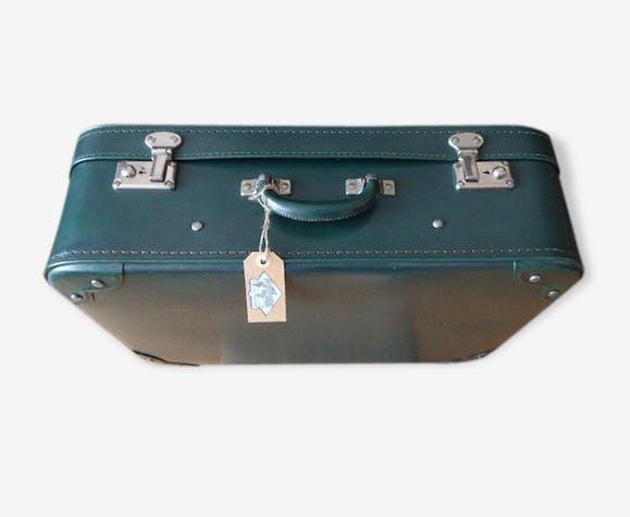 valise vintage vert anglais tissu liberty cuir vert vintage 44181. Black Bedroom Furniture Sets. Home Design Ideas