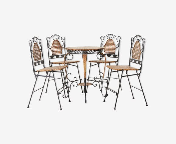 Ensemble chaises et table rotin