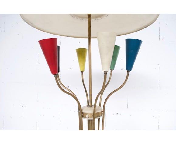 Italian lampadaire orientable years 50' laiton and acier