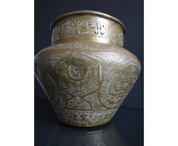 Cache pot perse cuivre ajouré islamique 30cm oriental XIXème