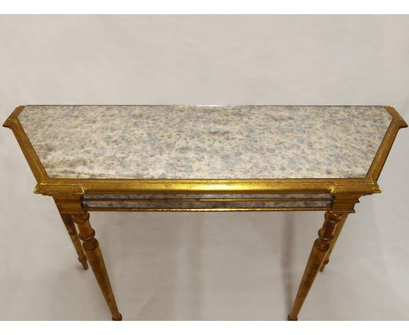 Console néoclassique en bois doré et verre églomisé miroir de style vénitien