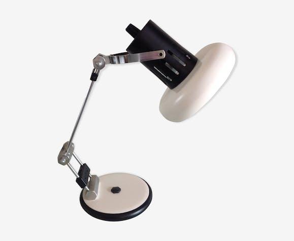 Lampe de bureau articulée chrome et metal beige et noir vintage années 70