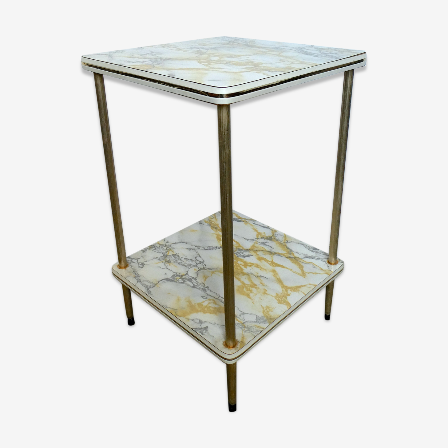 Gold metal and formica imitating marble side table