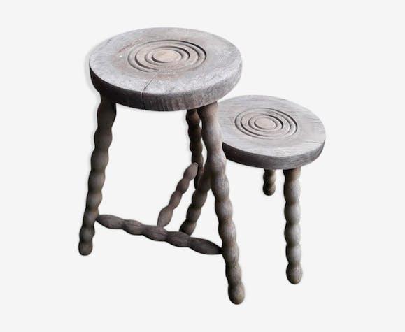 2 rustic 2-degree wooden tripod stools (pair)