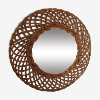 Circular mirror with wicker border, in 60s, 45cm