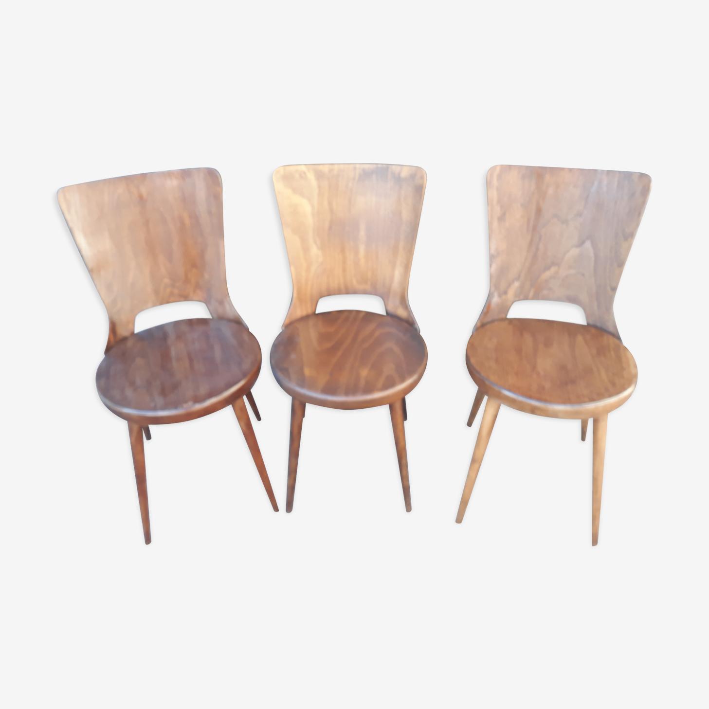 Série de 3 chaises Baumann modèle Dove vintage