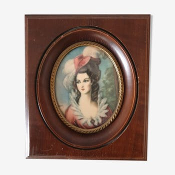 "Wooden frame for miniature with reproduction ""Elegant in hat"""