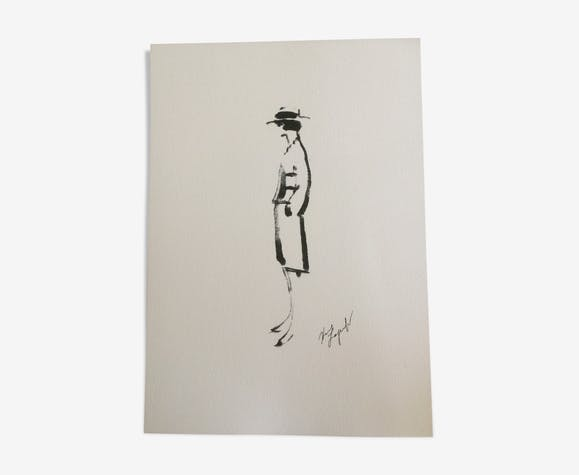 Illustration tirage croquis de mode silhouette de Coco Chanel