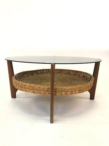 Table basse vintage design hollandais en teck