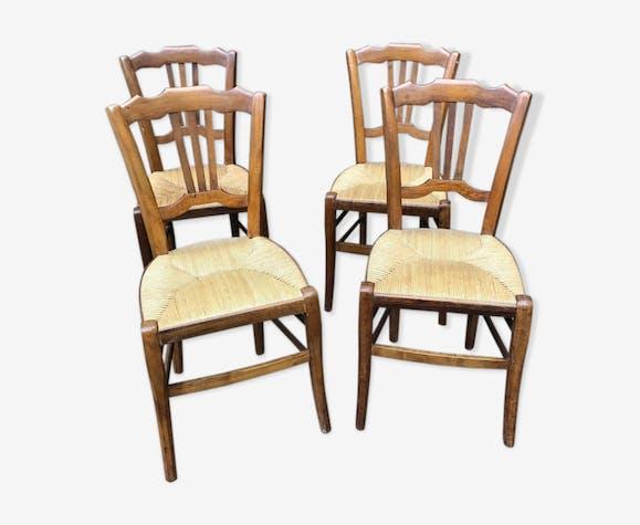 Série de 4 chaises anciennes paille