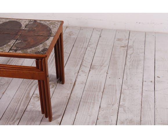 Vintage Danish Ox Art Teak Nesting Tables by Trioh, 1976