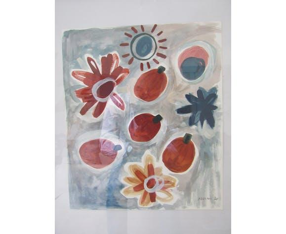 Paire de peintures par Laura Asoini Les fruits d'été