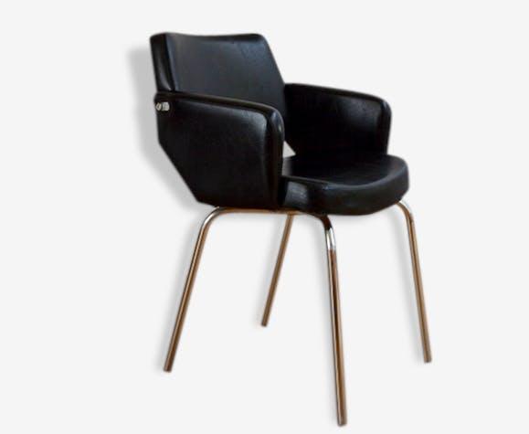 Fauteuil u2013 chaise de bureau design années 50 vintage skaï noir