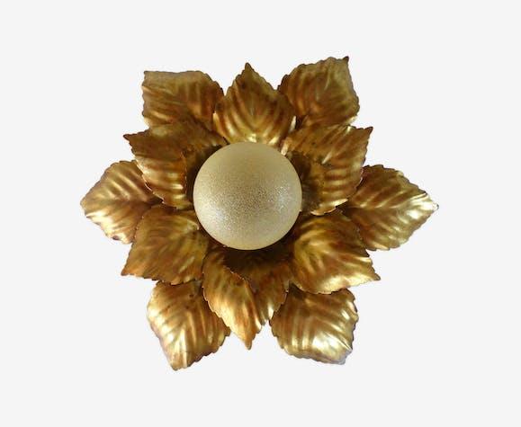 Ancienne applique fleur Masca en métal doré