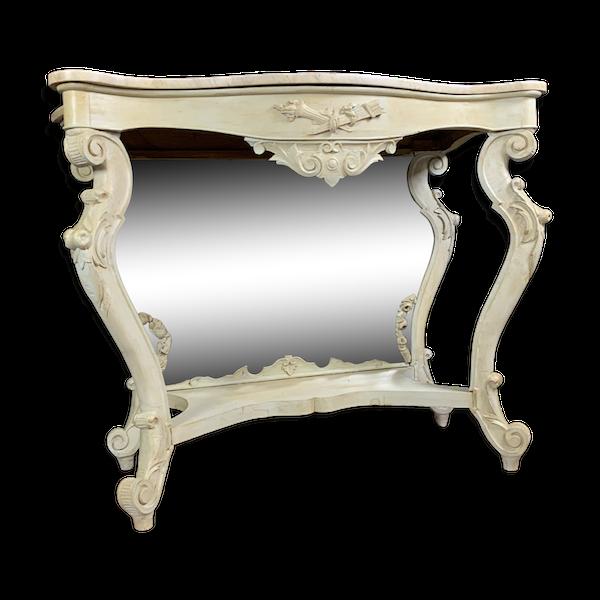 Console Baroque Louis XV en bois laqué de forme galbée
