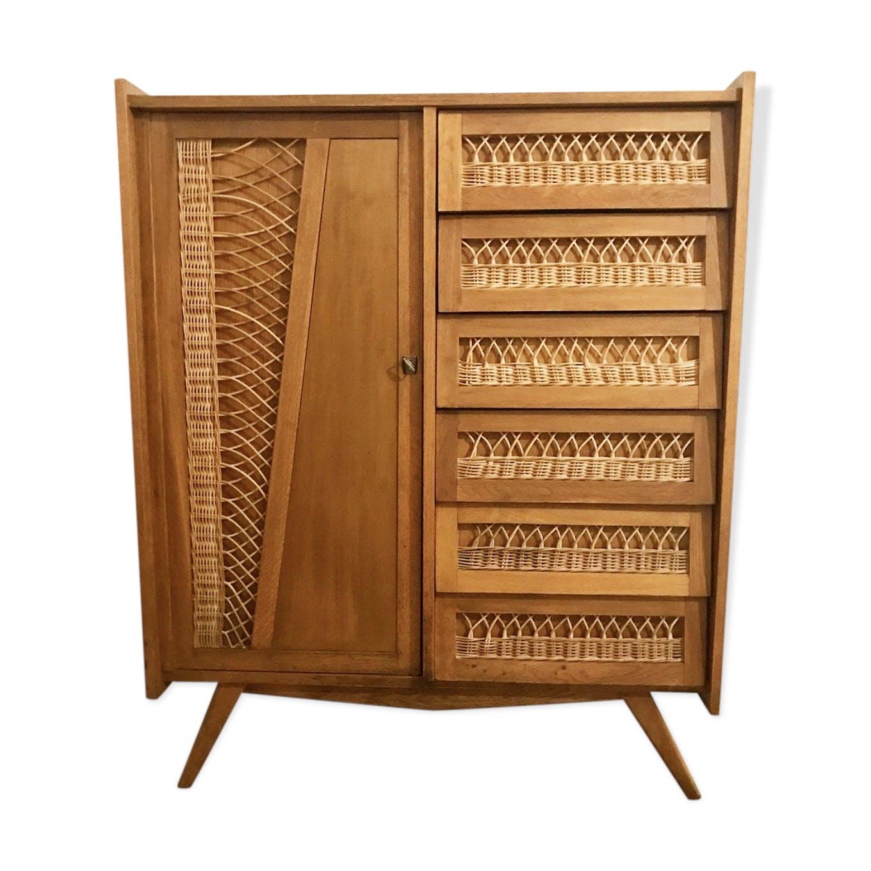 armoire rotin vintage - bois (matériau) - bois (couleur) - vintage