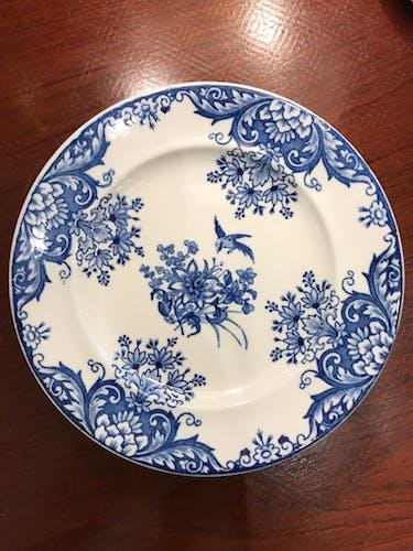 Set de 8 assiettes à dessert bleues Longwy