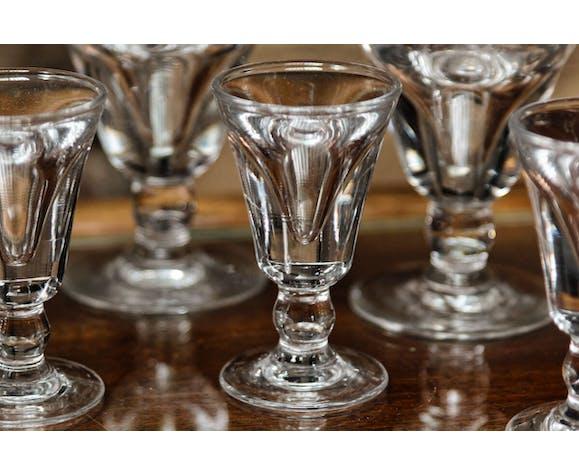 """Set de 12 """"verres du patron"""" ou """"trompe couillons"""" en verre soufflé fin XIXème, début Xxème"""