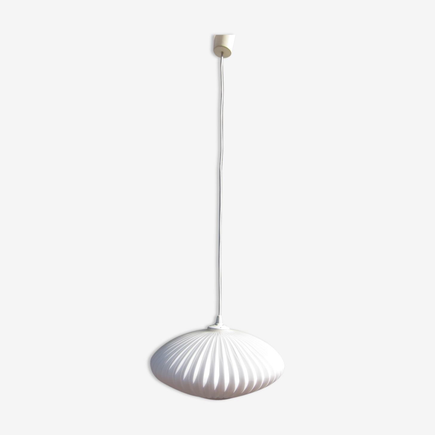 Scandinavian hanging lamp white glass pleated 1960