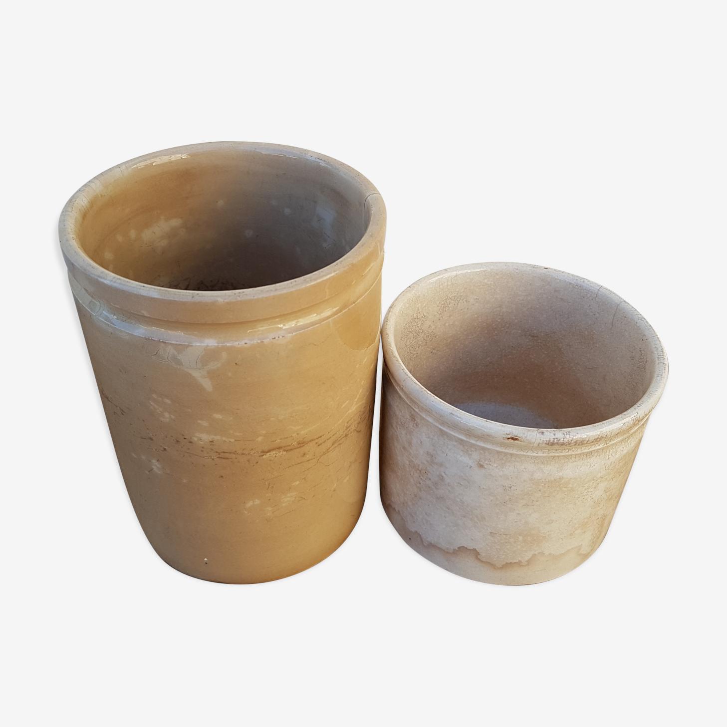 Duo de pots à confiture en grès