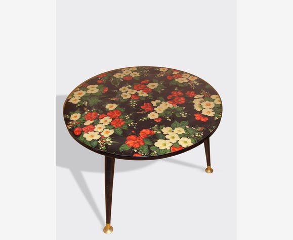 petite table basse ronde formica motif fleurs bak lite vintage 3806. Black Bedroom Furniture Sets. Home Design Ideas