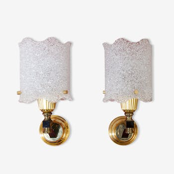 Pair of sconces brass backelite and Granita 60 s