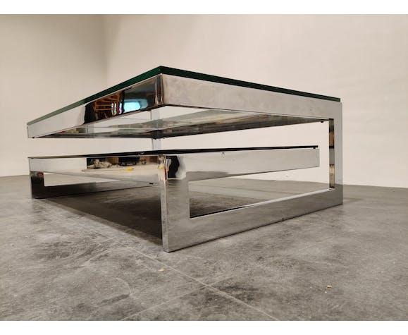 Vintage table basse Belgochrom 23kt à deux niveaux, années 1970