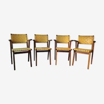 Série de 4 fauteuils bridge Jens Risom pour Walter Knoll